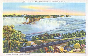 Postcard of a Michigan Central Train stopped at Fallsview